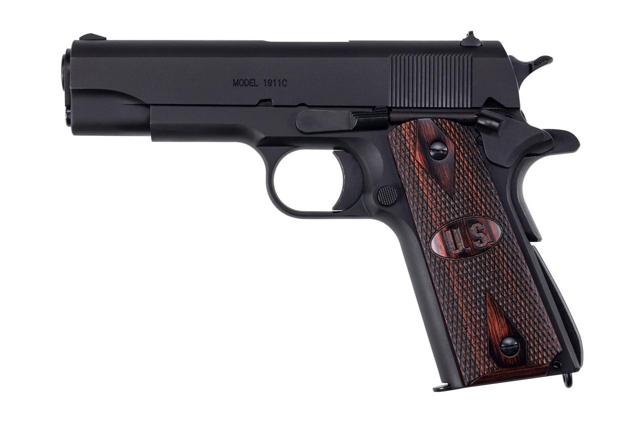 """1911A1 GI Specs 5"""" schwarz matt ha.Holzgriffschalen US Logo"""
